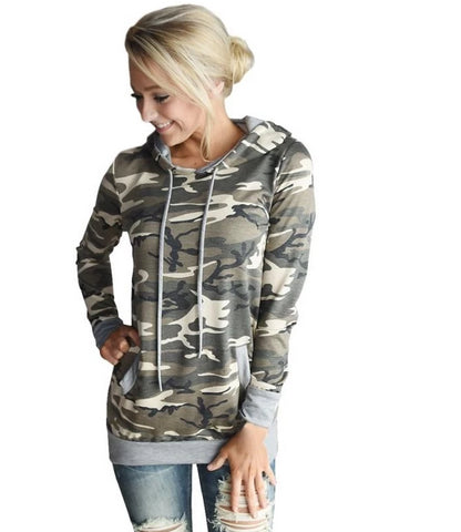 Womens Blouse Camouflage Long Sleeve Pullover with Hood - BoujichickFashions