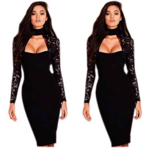 Long Sleeve Lace High Collar Pencil Dress - BoujichickFashions