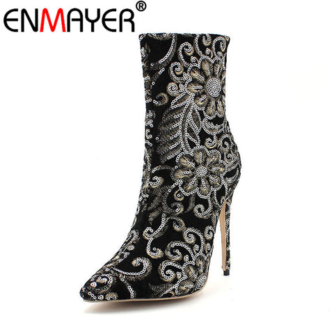 ENMAYER Winter Women Boots Mid-Calf Classic Black Stilleto Embroider Zippers Fashion Women Shoes Extreme High Heels Plus Size 43