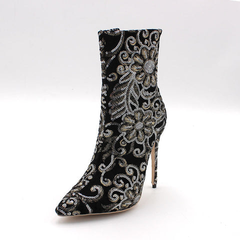ENMAYER Winter Women Boots Mid-Calf Classic Black Stilleto Embroider Zippers With Extreme High Heels - BoujichickFashions