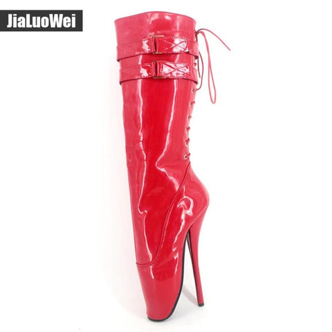 "jialuowei New 18cm/7"" ultra high heel stilleto heel spike heel red shiny Lace-up women knee high ballet boots sexy fetish boots"