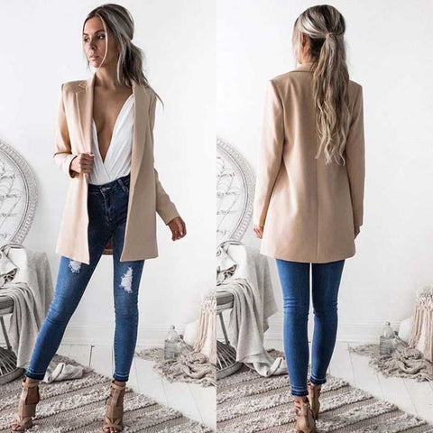 Fabulous and Long Stylish Long Sleeve Blazer - BoujichickFashions