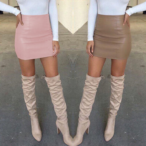 Bandge PU Leather High Waist Mini Skirts