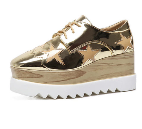 HEE GRAND 2018 Creepers Platform Casual Shoes Woman Lace-Up Oxfords Spring Flats Fashion Gold Silver Women Shoes XWD6280