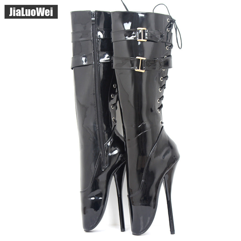 962f315bc7de Women lace up knee high fetish bootstrap boots - BoujichickFashions ...