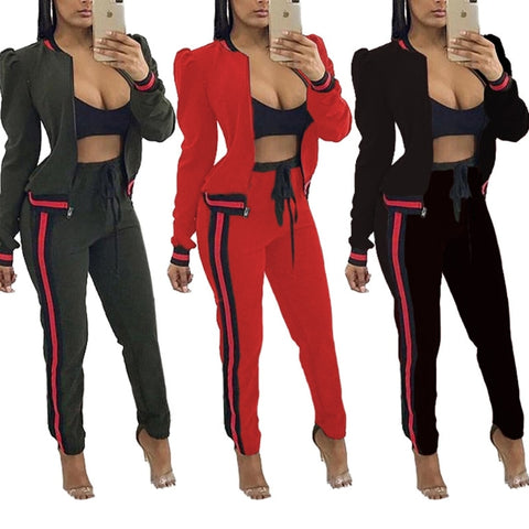 Women Long Sleeve Cap Shoulder Zip-up Jacket with Pencil Pant Tracksuit - BoujichickFashions