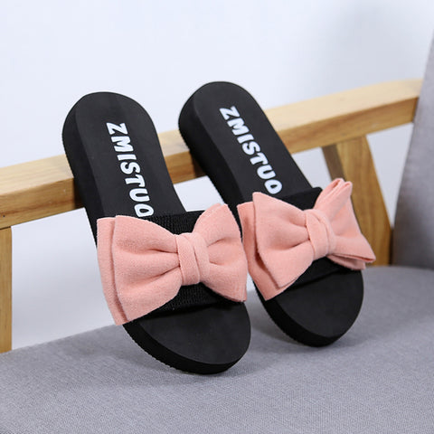 Women Bow Summer Sandals Slipper Indoor Outdoor Shoes - BoujichickFashions