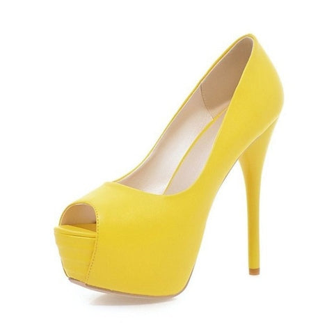 Candy Colored Stylish Open Toe Platform Pumps - BoujichickFashions