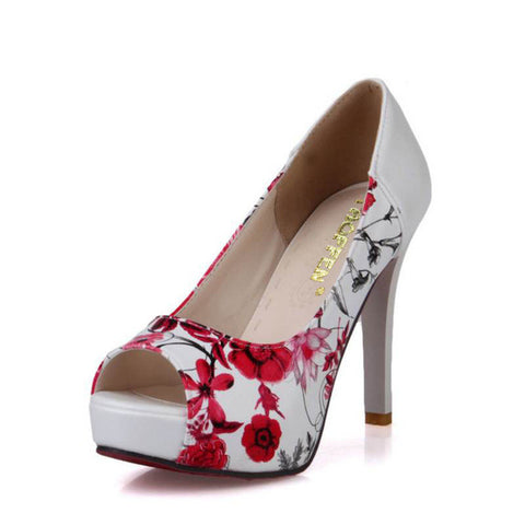 High Heel  Women's Butterfly and Floral Print Open Toe Pumps - BoujichickFashions
