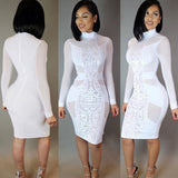 Long Sleeve Solid Slim Fit Laced/Sheer Styled Dress - BoujichickFashions