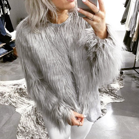 Shaggy Fur Styled Short Coat - BoujichickFashions