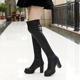 Over The Knee Faux Leather Boots - BoujichickFashions