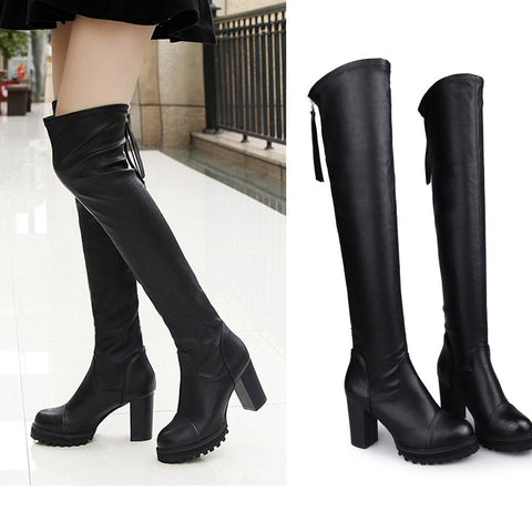 Fashion Leather Over Knee Boots Women Toe Elastic Stretch Thick Heel Boots - BoujichickFashions