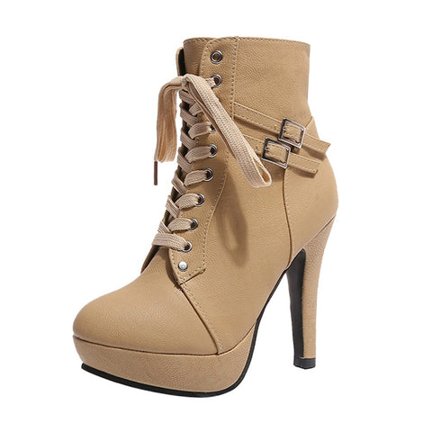Leather Lace-up Platform High Heeled  Boots - BoujichickFashions