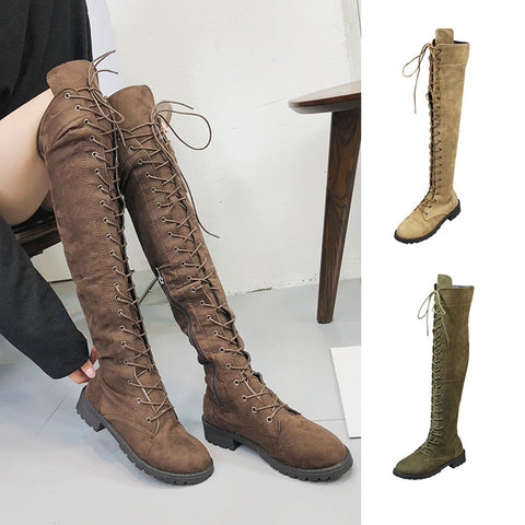 Women Stretch Faux Slim Lace-up High Boots Over The Knee Boots High Heels Shoes - BoujichickFashions