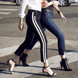 High Waist Skinny women Side Striped Jeans - BoujichickFashions