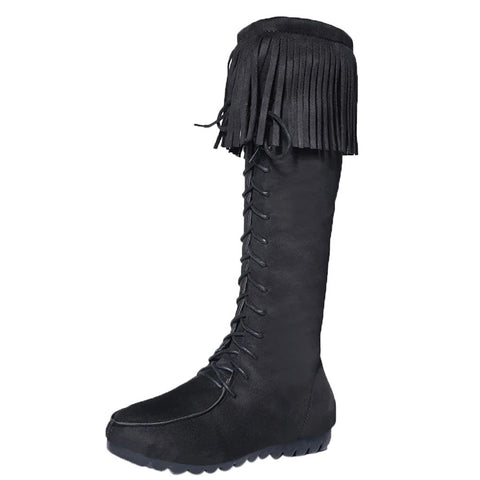 Lace Up Women Knee Long Fringe Flat Heels Boots - BoujichickFashions