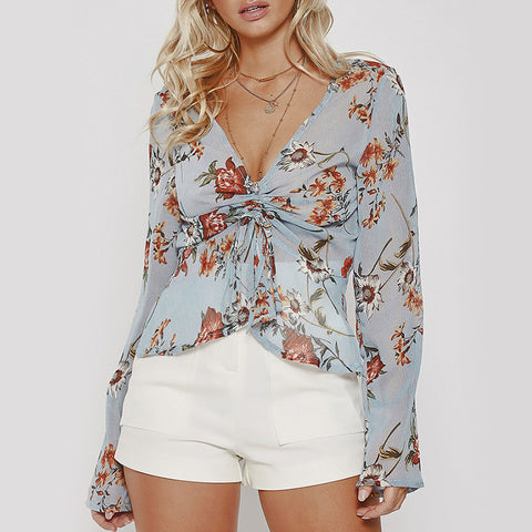 Chiffon Long Sleeve Crop Floral Lace Up V Neck Blouse - BoujichickFashions