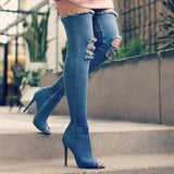 Thigh High Peep Toe Denim Boots - BoujichickFashions