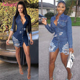 Distressed Mini Denim Dress - BoujichickFashions