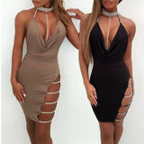 Awesome and Sexy Sequined Collar and Stitched Deep V Mini Dress - BoujichickFashions