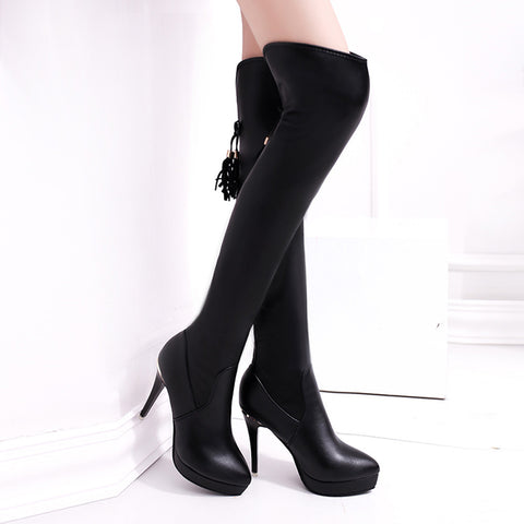 High-Heeled Knee High Waterproof  Boots - BoujichickFashions