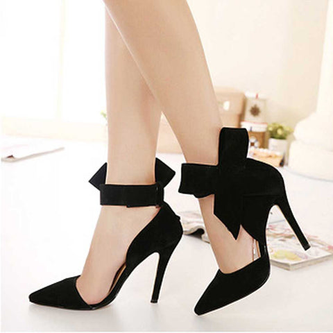Ankle Tie Bow Accented High Heel Pumps - BoujichickFashions