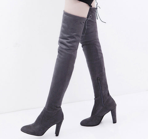 Women Stretch Faux Slim High Boots Over The Knee Boots High Heels Shoes - BoujichickFashions