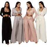 3 Piece Crop Top Wide Leg Pant With Matching Long Cardigan - BoujichickFashions