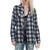 Women Fashionable Long Sleeve Plaid Shirt - BoujichickFashions