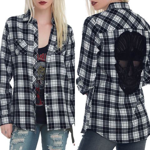 Fashion Womens Blouse Striped Plaid Long Sleeve Ladies Blouse Casual Tops - BoujichickFashions
