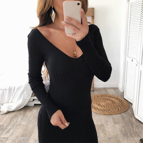 Fitted deep v neck sweater dress with long sleeves - BoujichickFashions