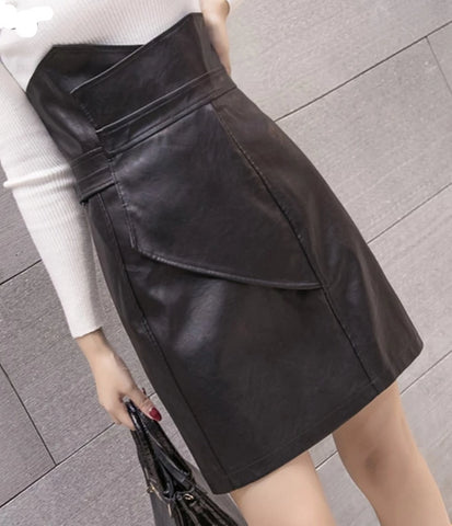 Slim High Waist Faux Leather Skirt - BoujichickFashions