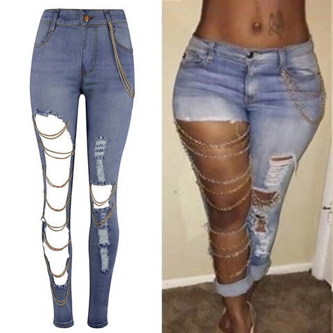Women Ripped Skinny Denim Pencil Jeans with Horizontal Accented Chains on the Right Leg - BoujichickFashions