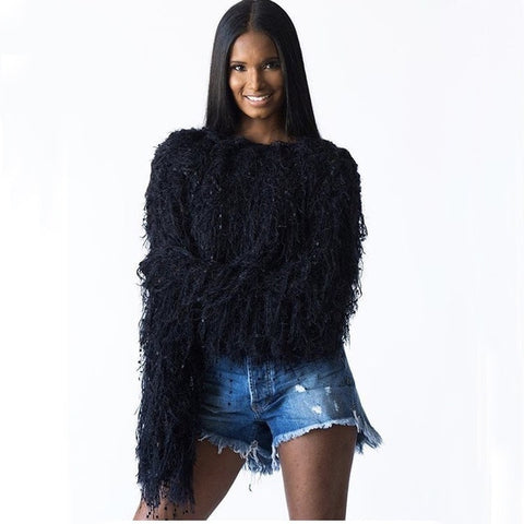 Fabulous Tassel Knitted Shaggy Pullover Sweater - BoujichickFashions