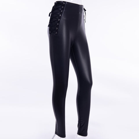 PU Leather and Side Lace Up Rear Zipper Pencil Pant - BoujichickFashions