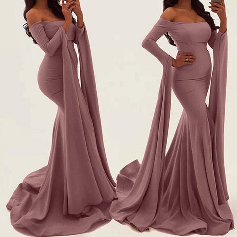 Elegant Off the Shoulder Exaggerated Long Sleeve Body Fitting Dress With Short Train - BoujichickFashions