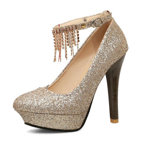 Sexy Super High Heel Crystal Accented Pumps - BoujichickFashions
