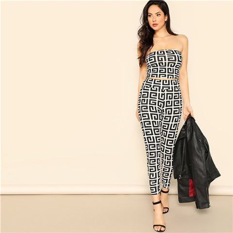 Black and White Sexy Greek Fret Print Strapless Crop Top and Leggings Sets - BoujichickFashions
