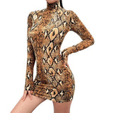 Fall Long Sleeve Turtleneck Snake Print Mini Dress - BoujichickFashions