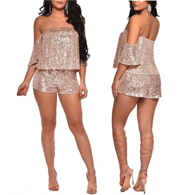 Fabulous Sequin Two Piece Off The Shoulder Short Set - BoujichickFashions
