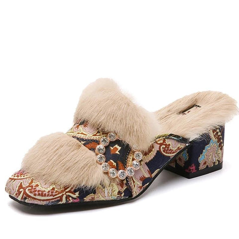 100% Genuine Rabbit Fur Luxury Slippers/Sliders