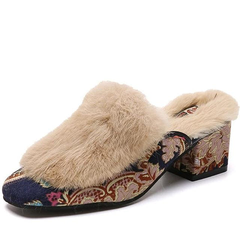 100% Genuine Rabbit Fur Luxury Slippers/Sliders - BoujichickFashions