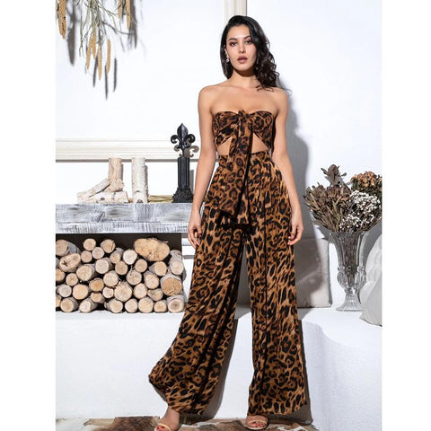 2-Pieces Leopard Chiffon High Waist Halter Top and Pant Set - BoujichickFashions