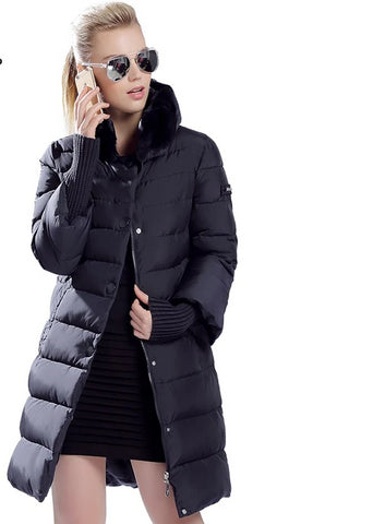 Feather/Down Parkas Style Long Coat With Genuine Fur Hood Trim - BoujichickFashions