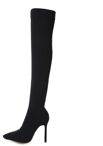 2019 Fashion Runway Stretch Fabric Thigh High BootS - BoujichickFashions