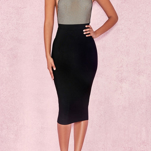 High Waist Faux Suede and Zipper Accented Pencil Skirt