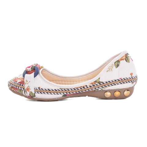 Floral and Beaded Ballet Style Flats - BoujichickFashions