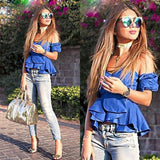 Off Shoulder Puff and Ruffle Sleeve Peplum Style Blouse - BoujichickFashions