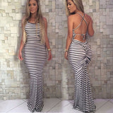 Sleeveless Backless Striped Maxi Dress - BoujichickFashions